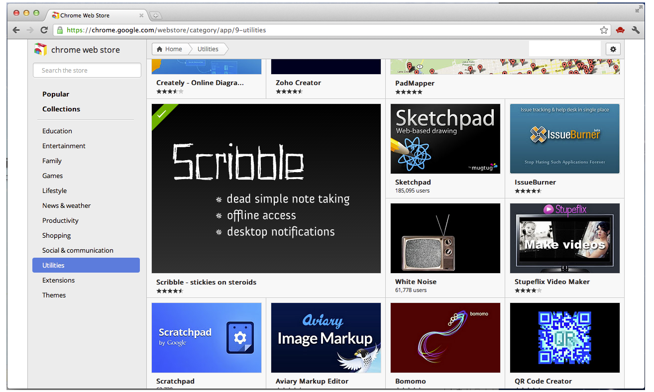 Scribble App Is Now Featured On the Chrome Web Store Home Page